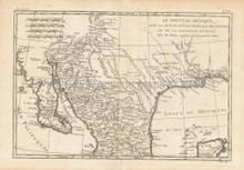 North Mexico Antique Map Bonne 1780