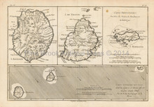 Reunion Islands Antique Map Bonne 1780