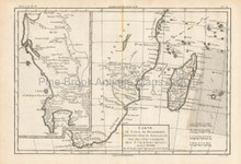 Mozambique Madagascar Antique Map Bonne 1780