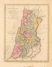 Purveyorships Of Solomon  Antique Map Wilkinson 1815