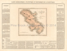 Martinique Antique Map Buchon 1825