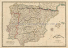 Spain Portugal Antique Map Wyld 1835