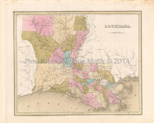 Louisiana Antique Map Bradford 1842