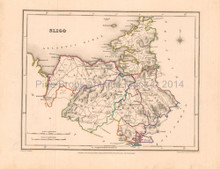 Sligo County Ireland Antique Map Lewis 1837