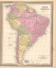 South American Continent Antique Map DeSilver 1855