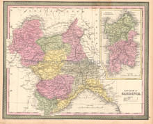 Sardinia Kingdom Italy Antique Map DeSilver 1855