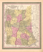 State of Vermont New Hampshire Antique Map DeSilver 1855