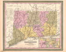 Connecticut Antique Map DeSilver 1855