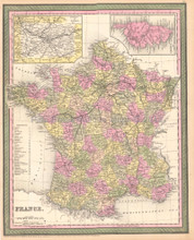 France Antique Map DeSilver 1855