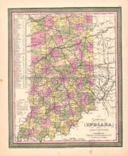 Indiana Antique Map DeSilver 1855