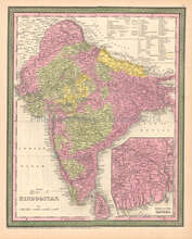 Hindoostan India Antique Map DeSilver 1855