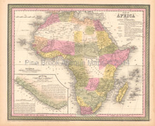 African Continent Antique Map DeSilver 1855
