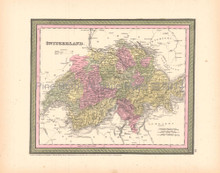 Switzerland Antique Map DeSilver 1855