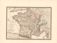 France in 1789 Antique Map Brue 1827 Original