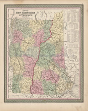 State of Vermont New Hampshire Map Antique DeSilver Cowperthwait 1855
