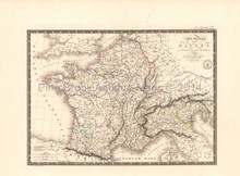 Ancient France Antique Map Brue 1824 Original