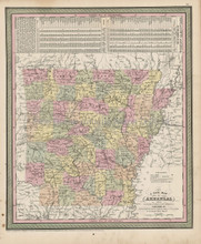 Arkansas State Map Antique DeSilver Cowperthwait 1855