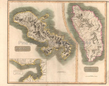 West India Islands Martinico Dominica Antique Map Thomson 1817