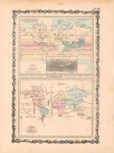 Climate Plants Antique Map AJ Johnson 1862