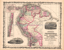 Venezuela New Granada Antique Map AJ Johnson 1862