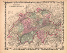 Switzerland Antique Map AJ Johnson 1862