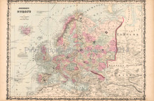 Europe Antique Map AJ Johnson 1862