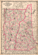 New Hampshire Vermont Antique Map AJ Johnson 1862