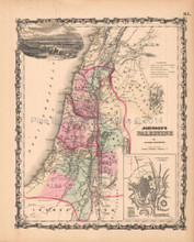 Palestine Antique Map AJ Johnson 1862