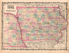 Iowa Nebraska Antique Map AJ Johnson 1862