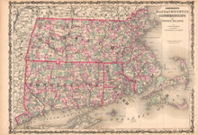 Massachusetts Rhode Island Antique Map AJ Johnson 1862