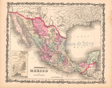 Mexico Antique Map AJ Johnson 1862