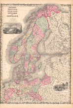 Prussia Scandinavia Antique Map AJ Johnson 1862