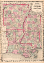 Arkansas Mississippi Antique Map AJ Johnson 1862