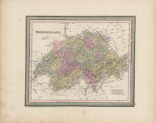 Switzerland Schweiz Map Antique DeSilver Cowperthwait 1855
