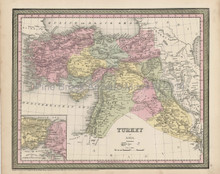Turkey Iraq Map Antique DeSilver Cowperthwait 1855