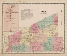 Ava New York Antique Map Beers 1874