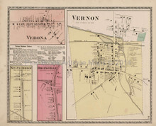Vernon Higginsville New York Antique Map Beers 1874
