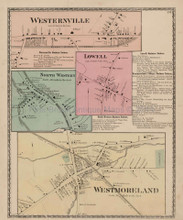 Westernville Lowell New York Antique Map Beers 1874