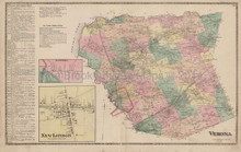 Verona New London New York Antique Map Beers 1874