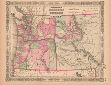 Washington Oregon Idaho Antique Map AJ Johnson 1864