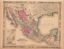 Mexico Antique Map AJ Johnson 1864
