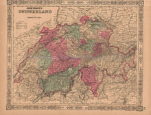 Switzerland Antique Map AJ Johnson 1864