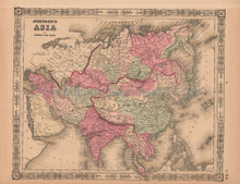 Asia Antique Map AJ Johnson 1864