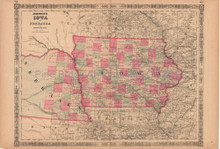 Iowa Nebraska Antique Map AJ Johnson 1864
