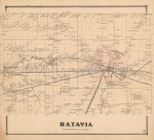 Batavia New York Antique Map Beers 1866 Town