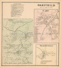 Oakfield Cary Mechanicsville New York Antique Map Beers 1866