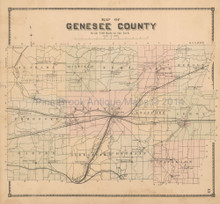 Genesee County New York Antique Map Beers 1866