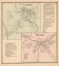 Castile Arcade New York Antique Map Beers 1866