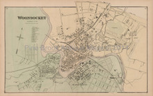 Woonsocket Rhode Island Antique Map Beers 1870 - Town