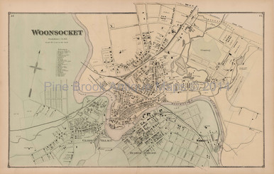 Woonsocket Rhode Island Antique Map Beers 1870 Town Pine Brook